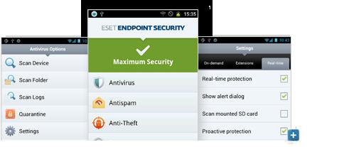 Abra la galería de capturas de pantalla de ESET Endpoint Security para Android
