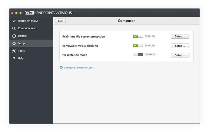 ESET Endpoint Antivirus para OS X: Configuración