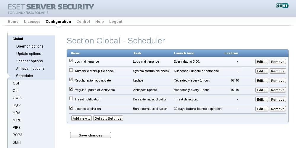 Configuração - Seção Global - Agendador de Tarefas