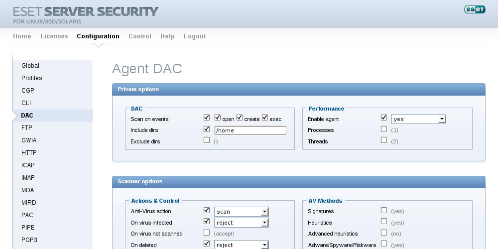 Configuração - Agente DAC