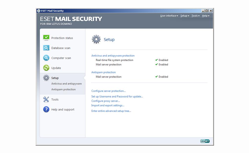 ESET Mail Security para IBM Lotus Domino - Configuración