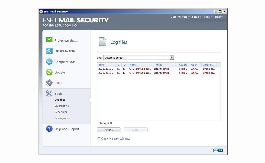 ESET Mail Security para IBM Lotus Domino - Herramientas - Archivos de registro