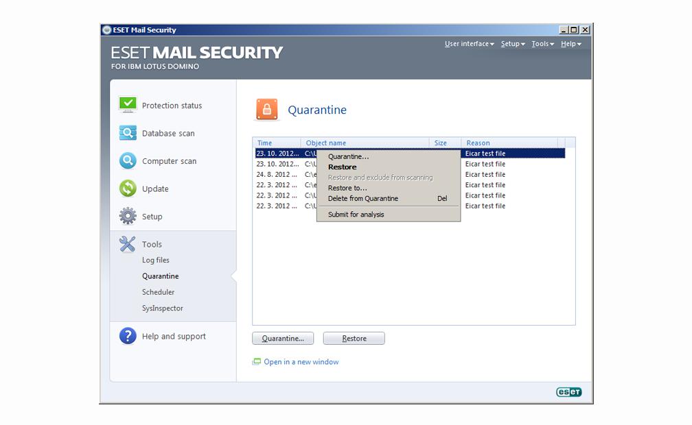 ESET Mail Security para IBM Lotus Domino - Herramientas - Cuarentena