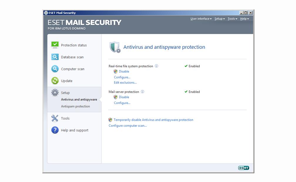 ESET Mail Security para IBM Lotus Domino - Configuración - Protección antivirus y antispyware