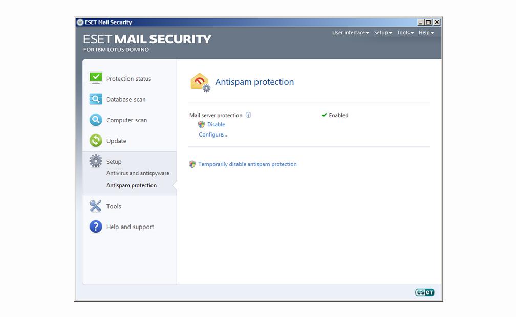 ESET Mail Security para IBM Lotus Domino - Configuración - Protección antispam