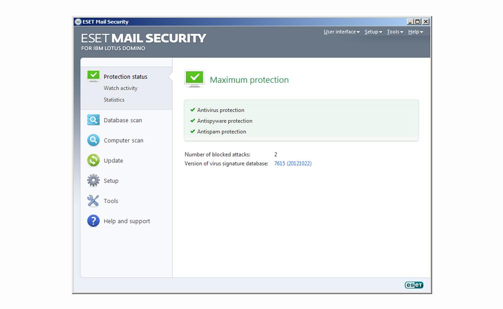 ESET Mail Security para IBM Lotus Domino - Estado de protección