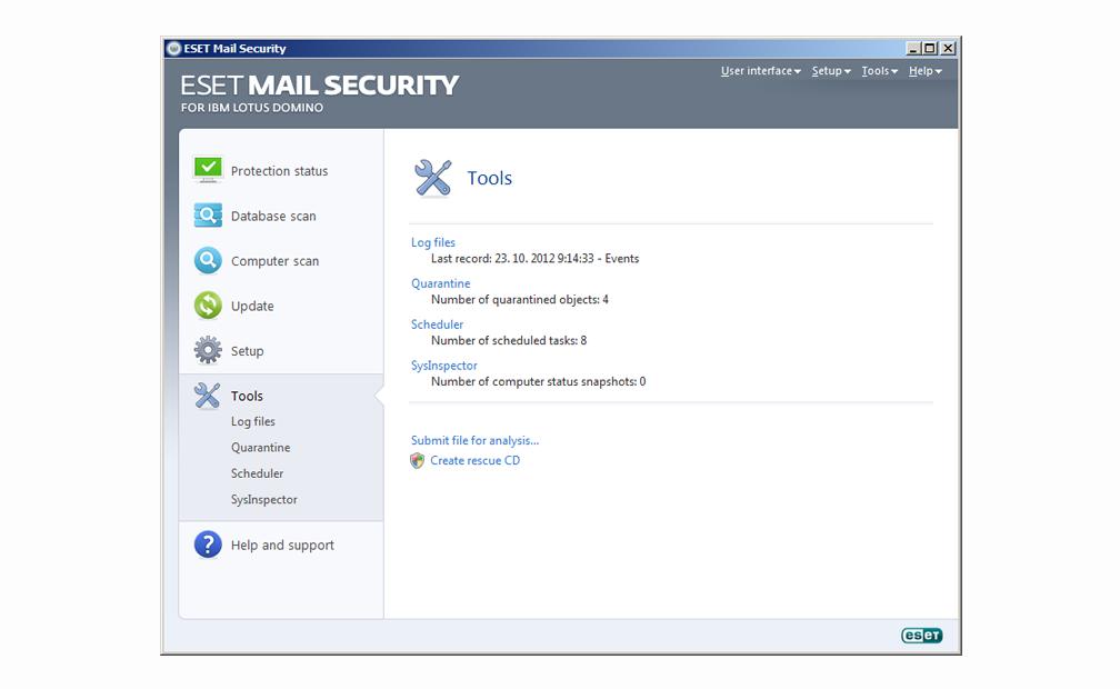 ESET Mail Security para IBM Lotus Domino - Herramientas