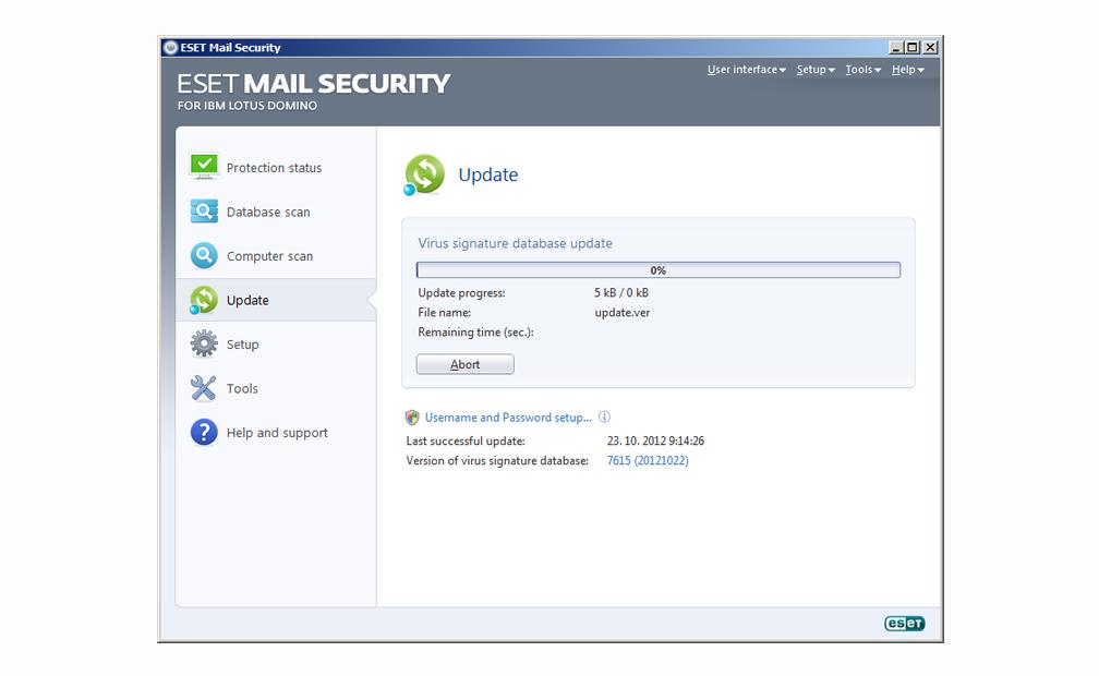 ESET Mail Security para IBM Lotus Domino - Actualización
