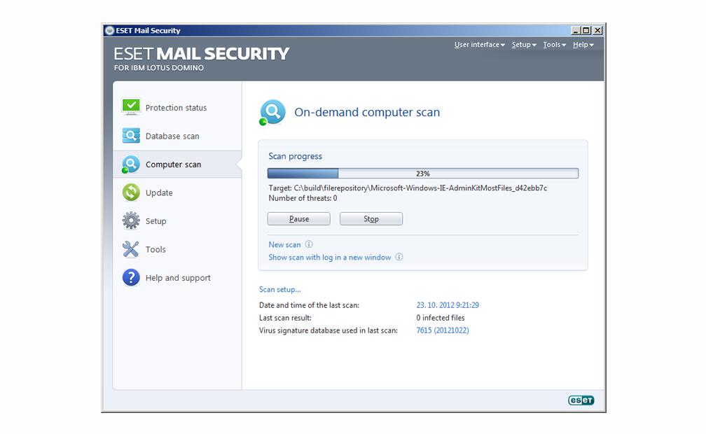 ESET Mail Security para IBM Lotus Domino - Exploración del equipo bajo demanda