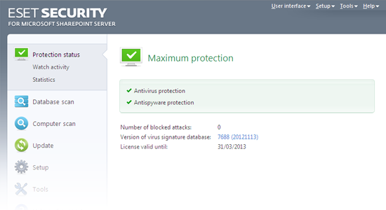 ESET Security para Microsoft SharePoint: Estado de protección