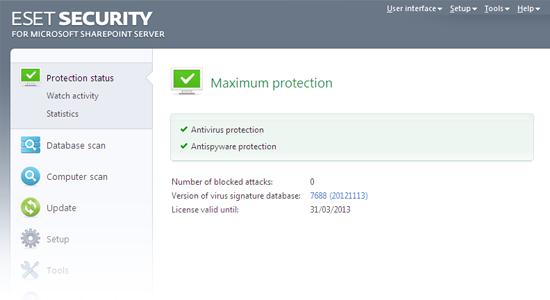 ESET Security para Microsoft SharePoint: Status de proteção