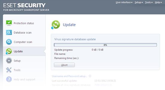 ESET Security para Microsoft SharePoint: Actualización