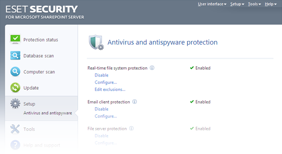 ESET Security para Microsoft SharePoint: Antivirus y antispyware