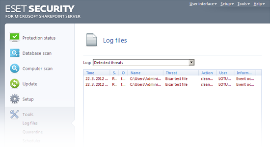 ESET Security para Microsoft SharePoint: Archivos de registro