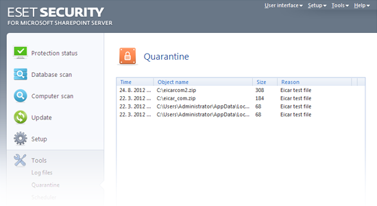 ESET Security para Microsoft SharePoint: Quarentena